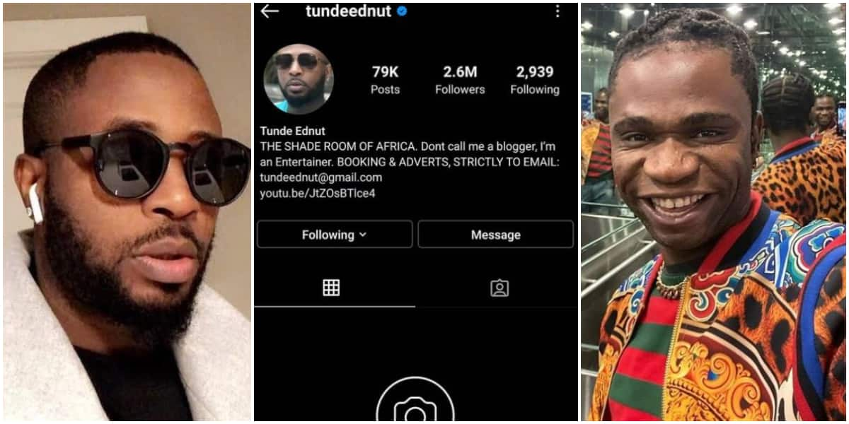 Blogger Tunde Ednut Loses Instagram Page Speed Darlington Reacts Tunde ednut na picture ole!!! blogger tunde ednut loses instagram