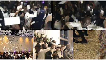 This one pass Cubana: Nigerians react as video shows recent wedding where only dollars was sprayed throughout