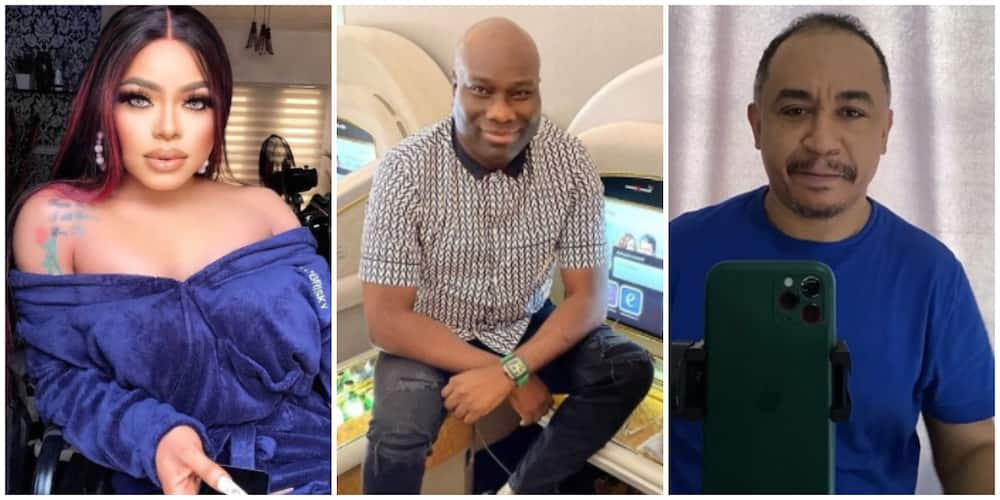 Photos of Bobrisky, Mompha, and Daddy Freeze.