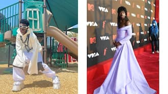 Lil Nas drops jaws at VMAs after showing up draped in unique purple outfit