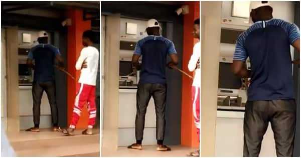 Nigerian man operates ATM with stick to avoid contracting coronavirus
