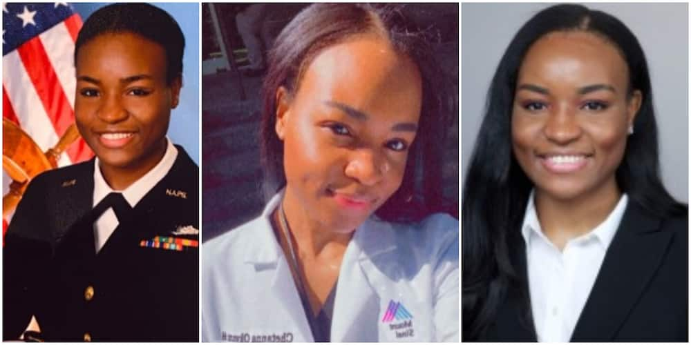 Reactions as Nigerian-American lady switches from working in US Navy to pursue a career in pharmacy