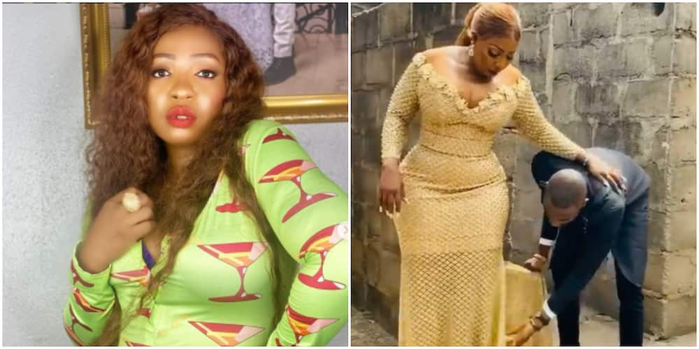 Anita Joseph taunts trolls as her husband adjusts her dress (video)