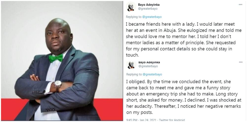 Reactions as man shares how a lady who requested mentorship fleeced him for 'urgent' money