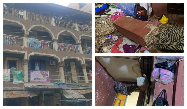 Different views of the collapsed building