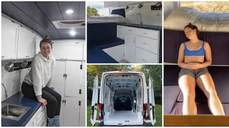 27-year-old lady tired of living with her family builds for herself fine mini house on wheels using a van