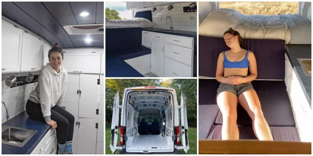 Young lady builds for herself fine house that moves on wheels after she got sick of staying with her family