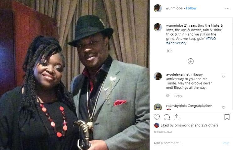 Veteran singers Tunde and Wunmi Obe celebrate 21st wedding anniversary with lovely photos