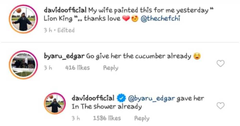 Davido replies fan