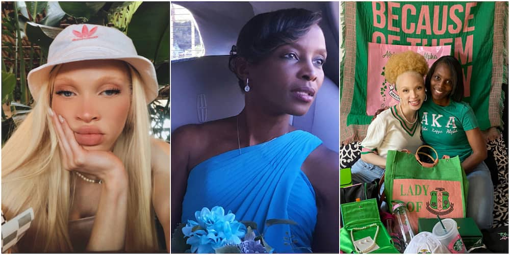I don't have albinism: Reactions as light skinned lady with blonde hair celebrates her super hot black mum