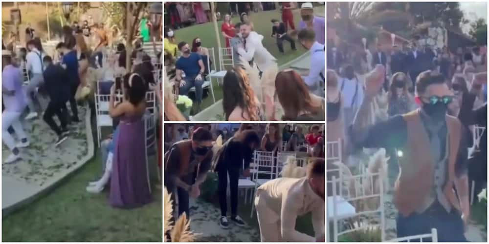 Video shows cute moment groom showed up at wedding service, dances with different guest before going to the altar