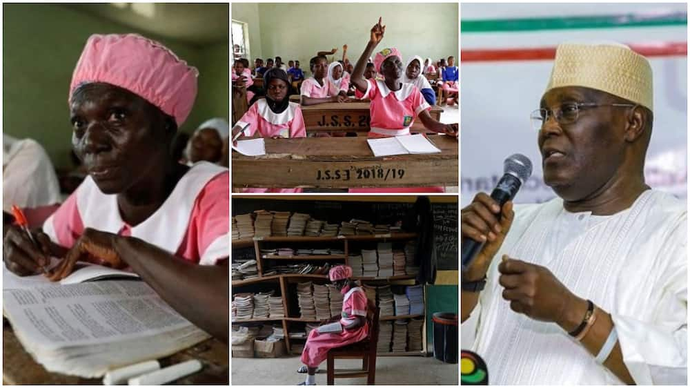 50-year-old secondary school student raises hand up to ask question in class, Atiku praises her