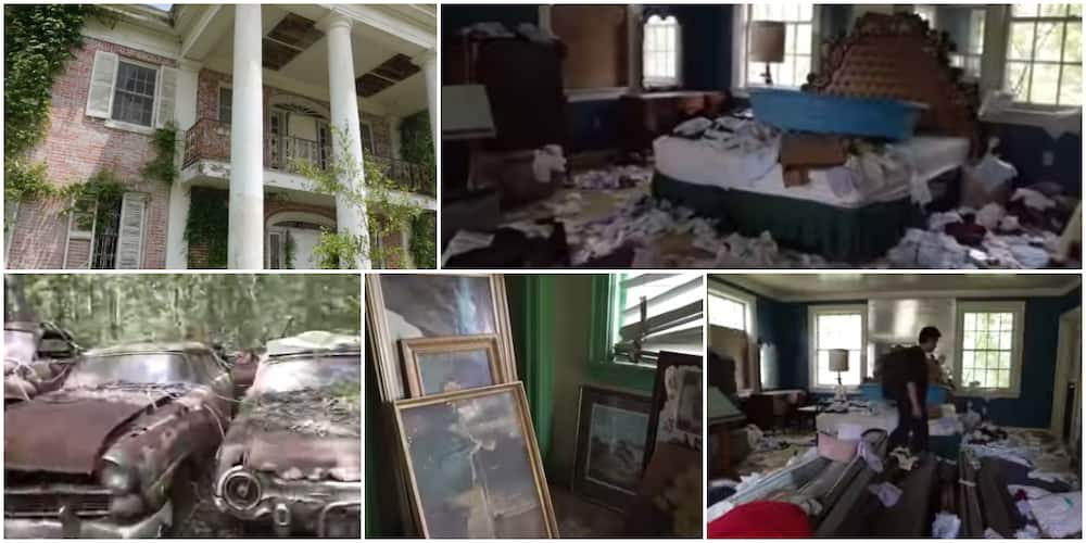 Reactions as man shares video of an old abandoned mansion he found somewhere that has 100s of cars and fine paintings in it