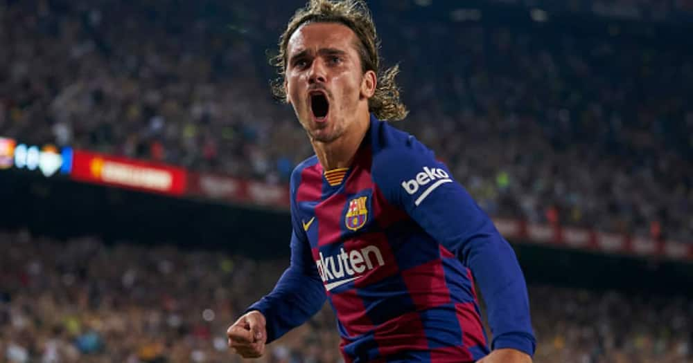 Griezmann celebrates after scoring for Barcelona. Photo by Quality Sport Images.