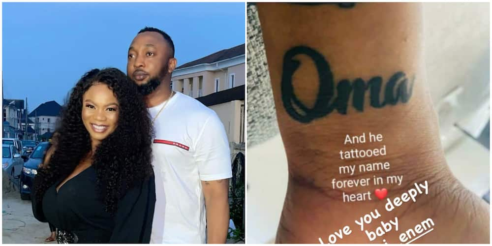 Nollywood's Oma Nnadi's hubby tattoos her name.