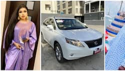 Bobrisky surprises father with a Lexus SUV on his birthday in trending photos, video