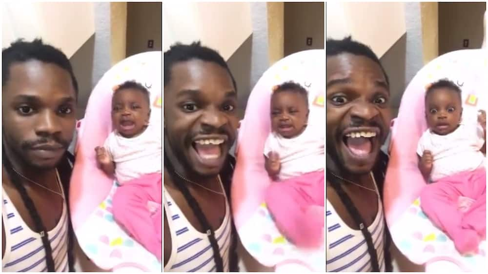 See how this man used his own crying to scare ths baby, keep her quiet