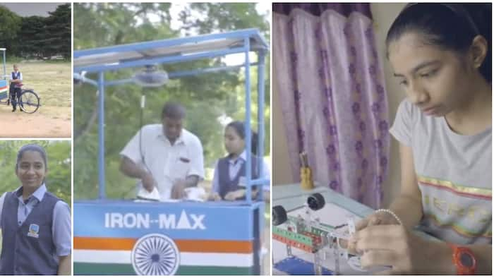 14-year-old girl invents solar-powered ironing cart so people will stop ironing clothes with charcoal irons
