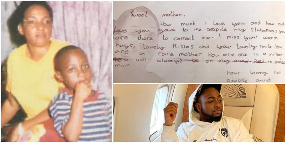 Touching note Davido wrote to mum after she died when he was young