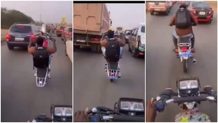 Video captures man using okada like power bike, he rides it on busy road with 1 tyre, people react