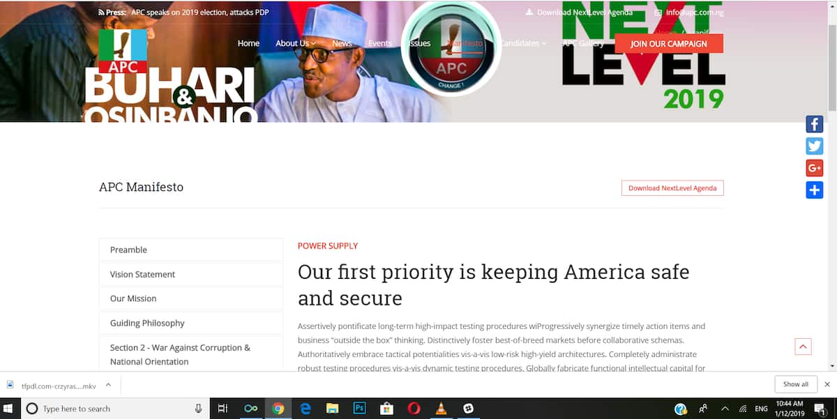 A screenshot of the plagiarised manifesto on APC manifesto. Credit: The Guardian