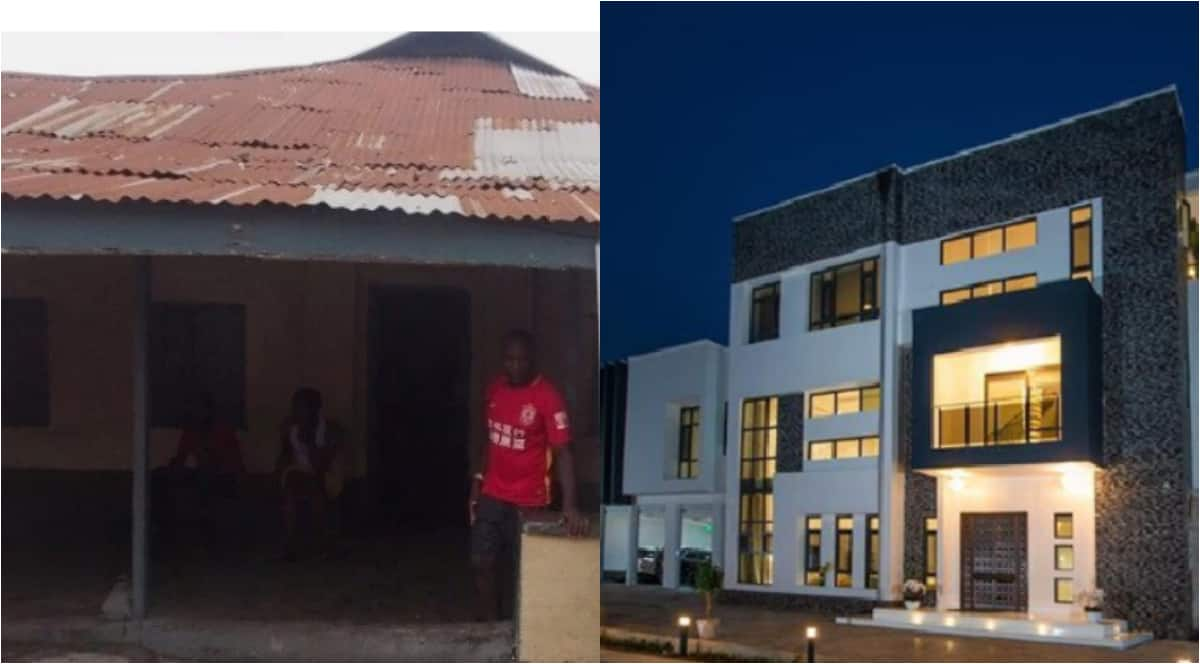 Before and after photos of Odion Ighalo's houses in Ajegunle and Lekki emerge