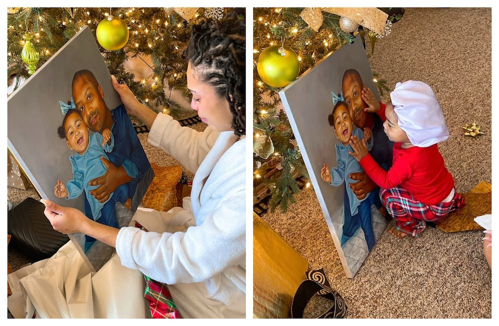 Woman emotional after husband gifted her painting of her deceased dad and their daughter