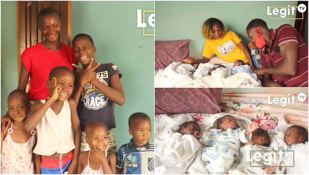 After 6 children, woman gives birth to 4 kids at once, unemployed husband cries out for help