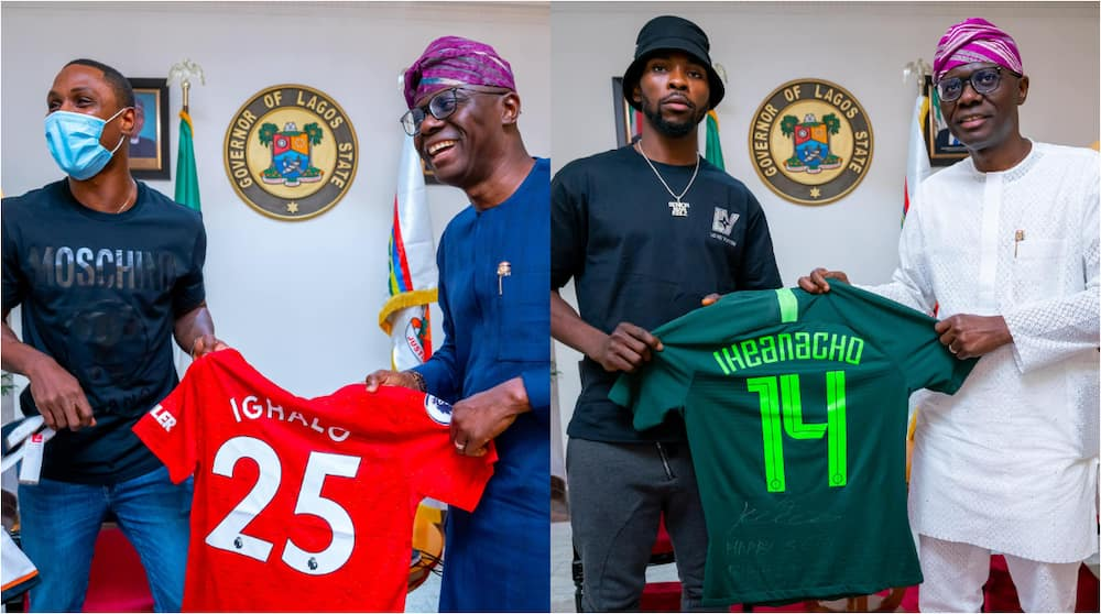 Two Nigerian Footballers Spotted With Lagos State Governor Babajide Sanwo-Olu Who Clocks 56