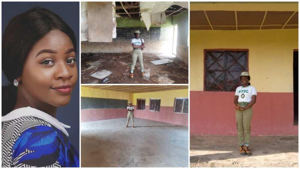 Corper renovates broken classroom in Kogi, fixes roof, walls during service year