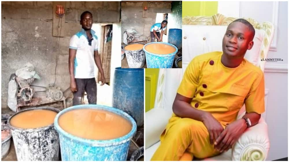 Nigerian student shows dignity in labour, showcases his pap business