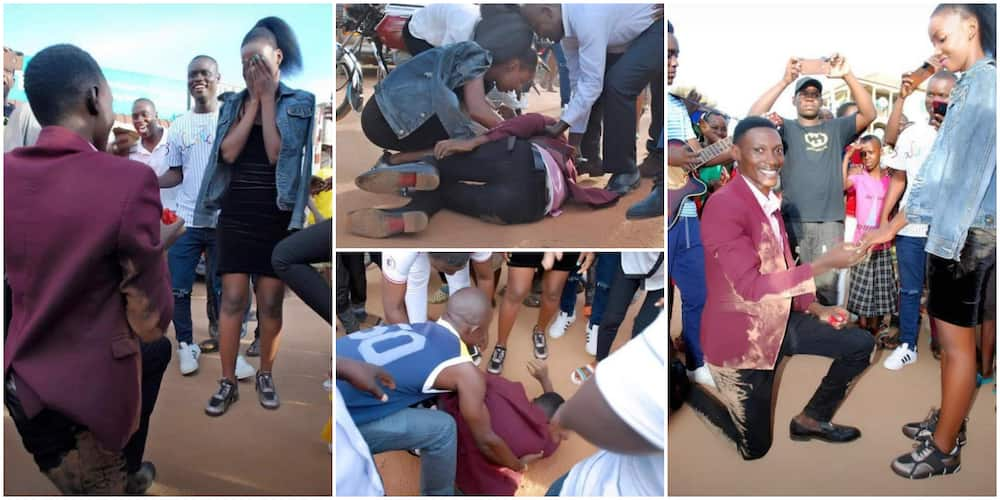 Man in Suit Rolls Himself on the Ground as he Proposes to His Girlfriend, Photos Spark Reactions