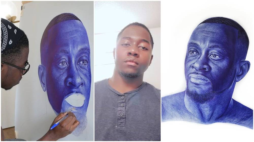 Young man wows Nigerians with the drawing he made with pen, stirs reactions