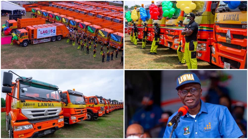 Photos of the 102 Beautiful Locally Assembled Waste Disposal Trucks Sanwo-Olu Launches in Lagos