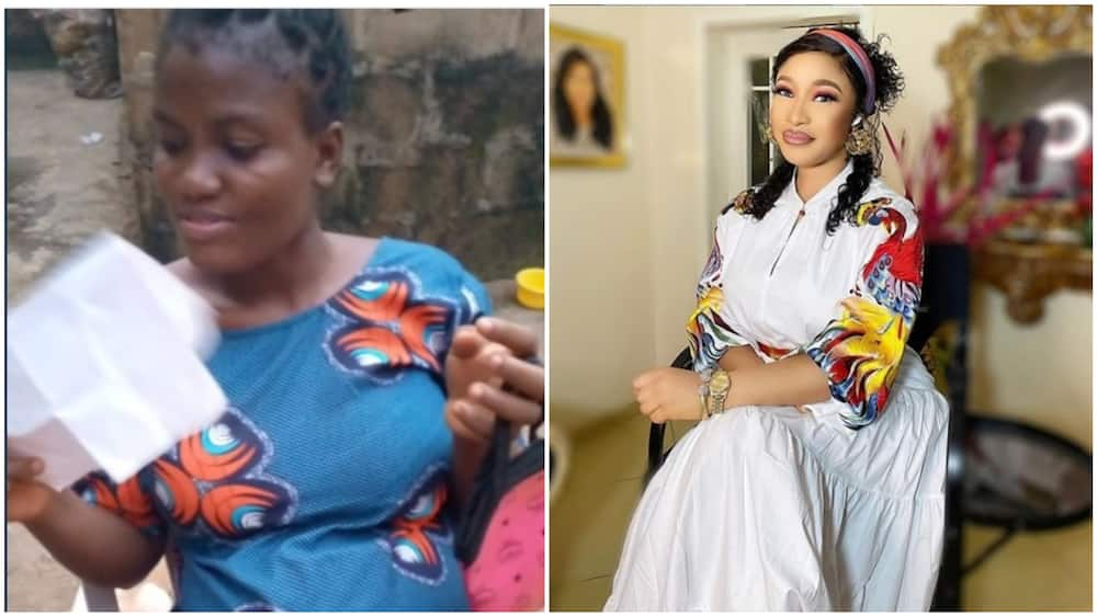 The Nigerian lady said they just got back from the hospital. Photos sources: Instagram/Tonto Dikeh, Twitter/@Royalty4sure