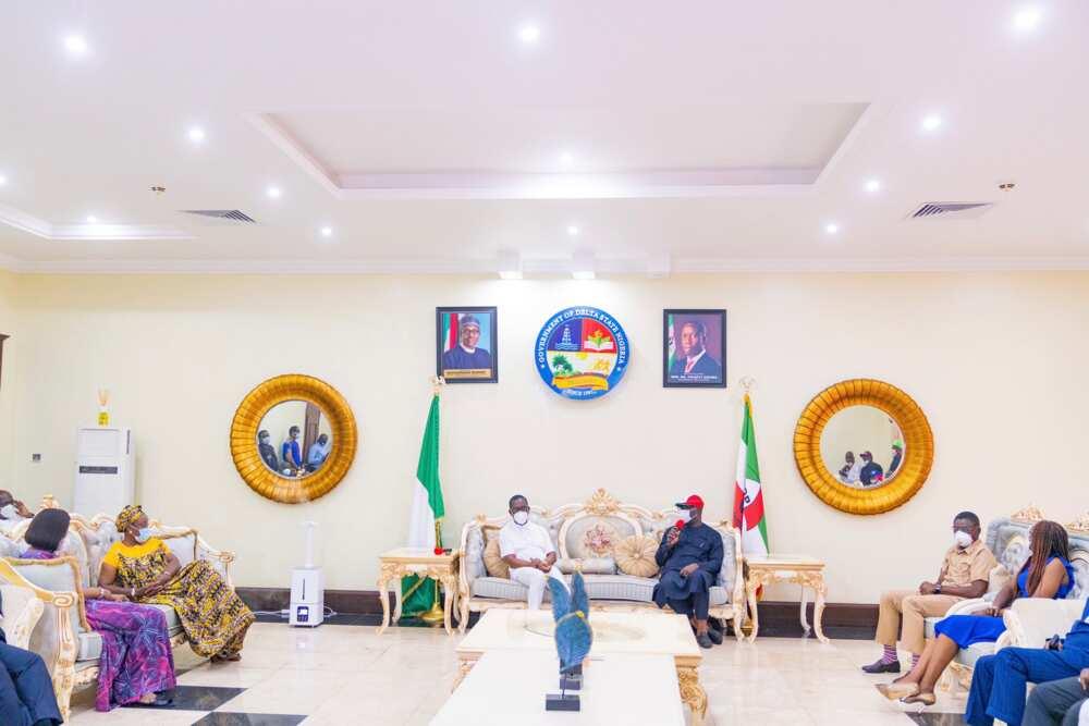 Edo election: Obaseki, Shaibu in Asaba for 'thank you' visit to Gov Okowa