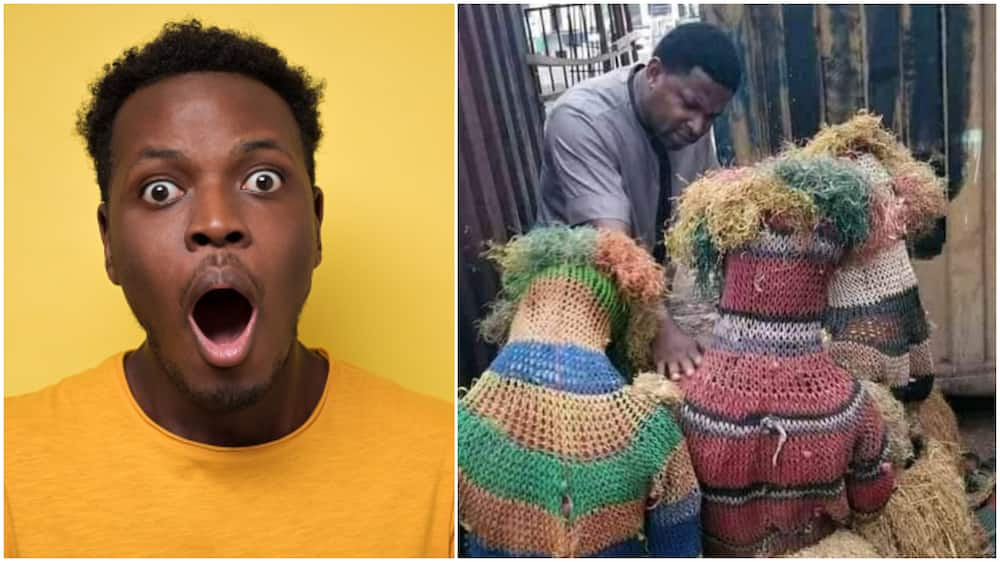Photo Captures Moment 3 Masquerades Kneel Before Pastor for Prayers, 'Give their Lives to Christ'