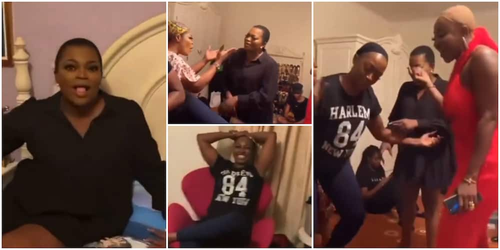 Hilarious videos of Kate Henshaw, Funke Akindele, and others on a movie set crack fans up on social media