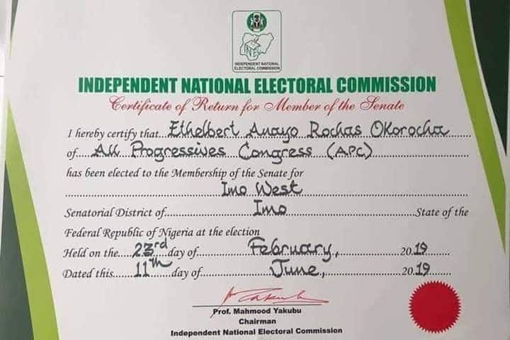 Okorocha reacts as INEC finally issues return certificate