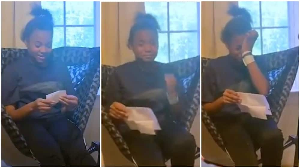The 13-year-old girl paused reading the letter as she cried. Photo source: Twitter/@nowthisnews