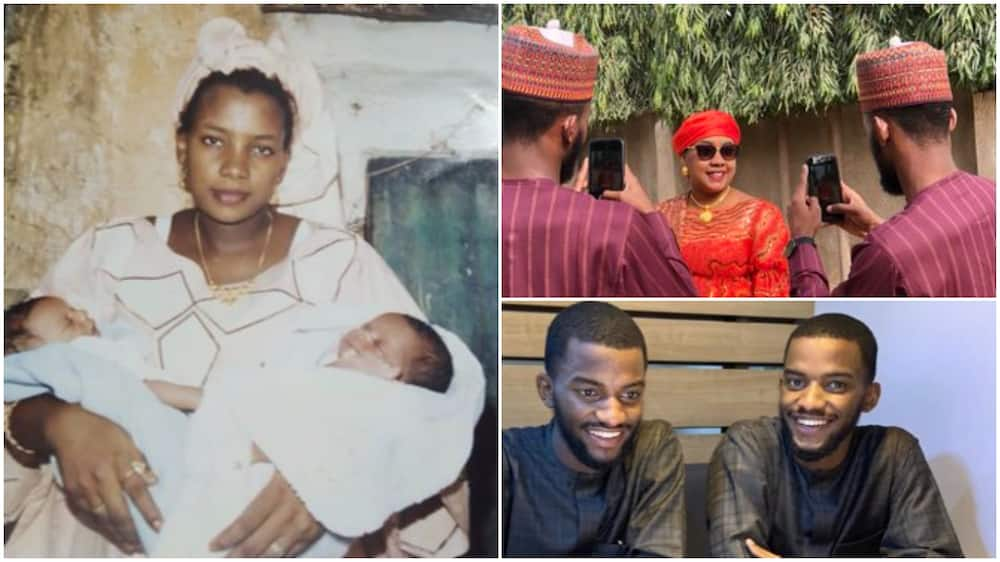 Adorable Photos of Nigerian Twins Taking Pictures with their Mother many Years after they Were Born Go Viral