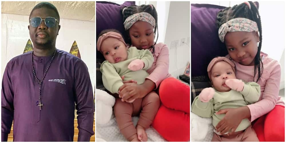 Comedian Seyi Law and his two daughters