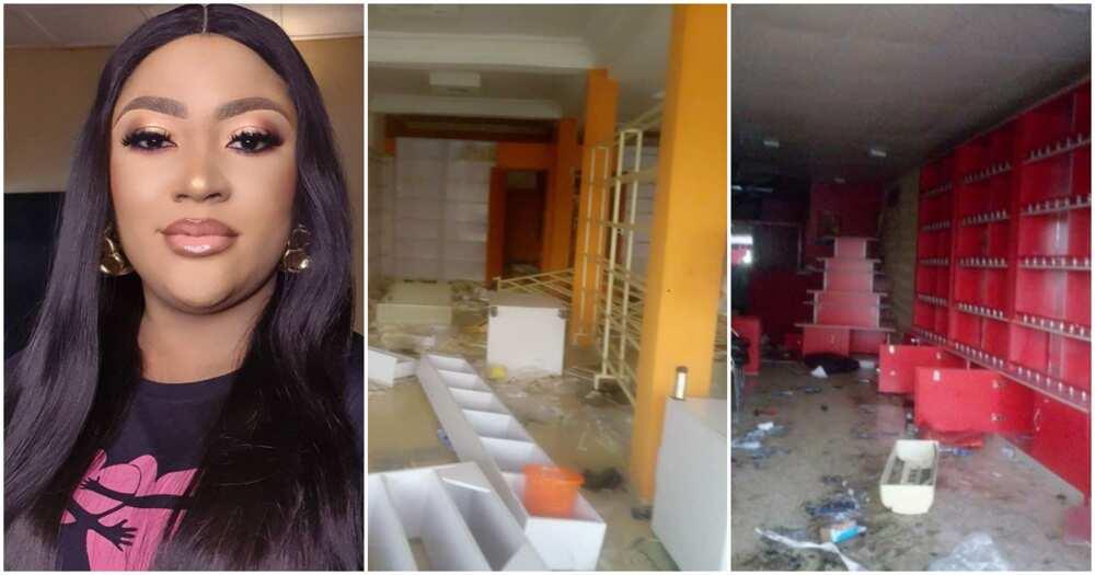 Nollywood actress Uche Ulendu heartbroken as hoodlums loot her shops (photos)
