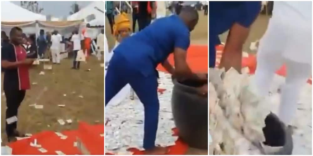 Couple Use Rubber Container to Pack Money at Wedding in Viral Video, Nigerians React