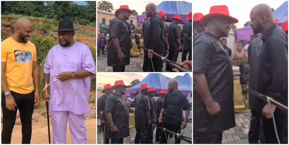 Baritone Voice Battle: Nollywood Actors Yul Edochie and Alex Usifo Come Face To Face On Movie Set