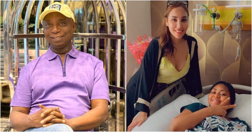 Ned Nwoko shares photo of Moroccan wife and Regina Daniels on hospital bed