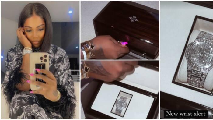 Better to buy wristwatch than pay blackmailer: Tiwa Savage flaunts N79m diamond watch as intimate tape leaks