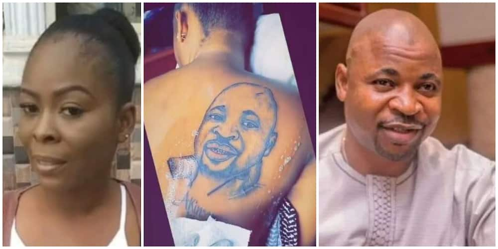 Mixed reactions lady's tattoo of face and name of MC Oluomo on her back