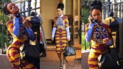 American singer Rihanna flaunts curves in expensive ankara dress (photos)