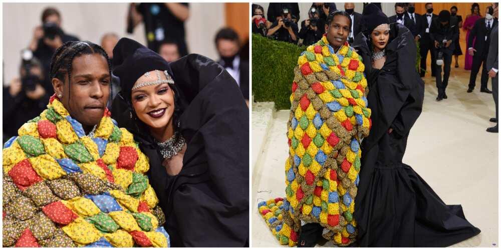 Photos of ASAP Rocky and Rihanna.